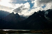 Clouds over mountain range, Torres del Paine National Park, Patagonia, Chile