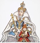 ANDERSEN: SNOW QUEEN.The Snow Queen and Gerda. Drawing by Arthur Szyk for the fairy tale by Hans Christian Andersen.