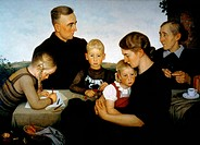 NAZI MODEL FAMILY, 1939.Farm Family from Kahlenberg, Germany. Oil on canvas, 1939, by Adolf Wissel.