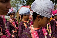 Musicians in traditional dress, elephant Festival,Jaipur, Rajasthan, India