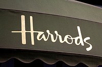 Harrods Sign in Kinghtsbridge, London, England, UK