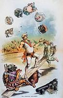 OTTO VON BISMARCK(1815-1898). Prince Otto von Bismarck-Schonhausen. Prussian statesman. Bismarck as 'The European Equilibrist.' American cartoon, 1887...