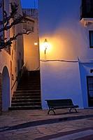 Spain, Catalonia, Girona,Costa Brava, Cadaquès, street lamp