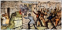 CT: PRUDENCE CRANDALL'S.Townspeople of Canterbury,/nConnecticut, setting fire to Prudence Crandall's school for Young Ladies of Color in 1834. Wood en...