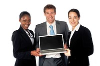 Business team presenting with a laptop