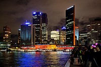Australia, New South Wales, Sydney, nightview of Circular Quay and the Sydney skyline during the Vivid Sydney festival