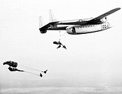 Troops parachuting from Fairfield Aircraft
