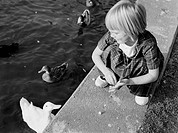 Girl feeding ducks in pond