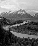 High angle view of a river, Snake River, Grand Teton National Park, Wyoming, USA