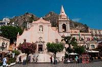 Church at a town square, San Giuseppe Church, Piazza IX Aprile, Taormina, Sicily, Italy