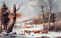 Winter In The Country _ Homeward From The Wood_Lot Currier & Ives 1834_1907 American Lithograph