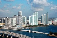 Macarthur Causeway and norhtern Downtown Miami aerial
