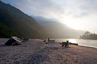 Tourists camping at riverside, Sun Kosi River, Nepal