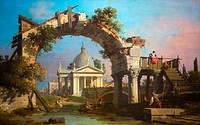 Landscape with a Villa seen through a ruined Arch, by Giovanni Antonio Canal, Canaletto, Ashmolean Museum of Art, University of Oxford, Oxfordshire, E...