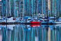 Boats at a harbor, Coal Harbour, Vancouver, British Columbia, Canada