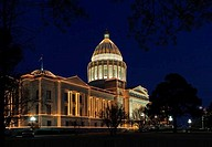 USA, Arkansas, Little Rock, Arkansas State Capitol Building with Christmas lights