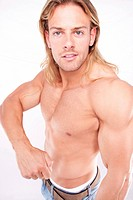 Athletic sexy male body builder with the blonde long hair. gladi Athletic sexy male body builder with the blonde long hair. gladi