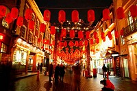 UK, London, Chinatown, Paper lanterns hanging during Chinese New Year above Gerrard Street