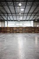 Pallets in an Empty Warehouse