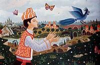Blue Bird by Alain Thomas, Oil On Canvas, b.1942, USA, Chicago, Wally F. Findlay Galleries International
