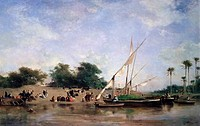 Boats On The Nile 1871 Eugène Fromentin 1820_1876 French