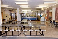 Table And Seats in a School Cafeteria