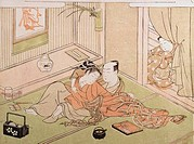 Two Lovers Watched by a Servant Suzuki Harunobu 1725_1770 Japanese Guimet, Paris