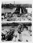 High angle view of Azume Bridge in Tokyo the after earthquake of September 1, 1923 and four years later on September 1, 1927, Japan