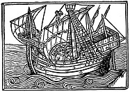 SPANISH SHIP, 1496.A typical late-15th century Spanish ship. Woodcut from 'Estoriador do emperador Vespesiano', 1496.