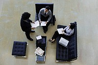 Executives working together, overhead view