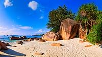 Panorama of beach Anse Lazio, Seychelles