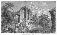 KENILWORTH CASTLE.View of the ruins of Kenilworth Castle, in Warwickshire, England. Wood engraving, 19th century.