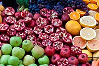 Mixed fruit on display at a market.