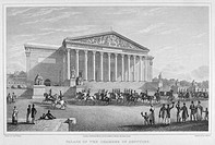 PARIS: CHAMBER OF DEPUTIES.Palace of the Chamber of Deputies at Paris, France. Steel engraving, 19th century.