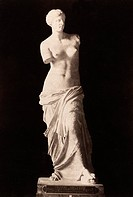 VENUS DE MILO.Ancient marble statue from Melos, c150 B.C. Cabinet photograph, French, late 19th century.