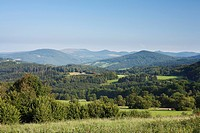 Germany, Bavaria, Franconia, Rhoen, Riedenburg, View of black mountains