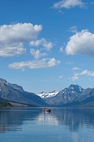 Motorboat on Lake McDonald, Glacier National Park, Montana, USA.