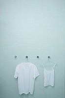 A man´s white cotton tee shirt and a woman´s white cotton bodice are drip_drying in front of blue glass tile . Jan11BlankSlate