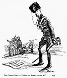 WORLD WAR I: CARTOON, 1914.The Crown Prince of Germany bemoaning the praise received by Kaiser Wilhelm II. American cartoon, 1914, by Boardman Robinso...