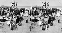 CONEY ISLAND: BEACH, c1903.Crowded beach at Coney Island, Brooklyn, New York. Stereograph, c1903.