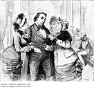 FEMALE LOBBYISTS, 1884.Female lobbyists at Washington, D.C. 'Female lobbyists in the Marble Room of the Senate.' Wood engraving, American, 1884.