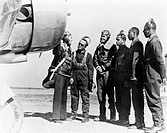 TUSKEGEE AIRMEN, 1942.Members of the first group of African American pilots in the history of the U.S. Army Air Corps at Tuskegee, Alabama, with Major...