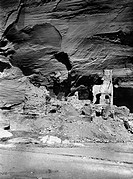 NAVAJO RUINS, c1907.Ruins of Navajo dwellings identified as the Antelope Ruins, with prehistoric drawings on the rock wall. Photograph by Edward Curti...
