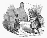 FRENCH PEASANT, 1840.'French Peasantry.' Wood engraving, American, 1840.