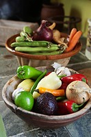 Various fruits and vegetables in bowl, close_up