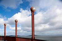 USA, California, San Francisco,Golden Gate National Recreation Area, Golden Gate Bridge, lamp detail