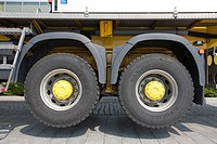 truck rear wheels raised in the air