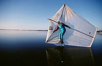 Man sailing on lake