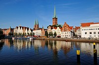 Luebeck, Germany, Medieval Cityscape with Cathedral