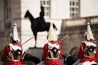 England, London, Horse Guards Parade. Life Guards, members of the Household Cavalry Mounted Regiment participating in the Changing of the Guard ceremo...